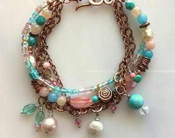 Multistrand Charm Bracelet with Rhodochrosite, Czech Glass beads, Aquamarine, Turquoise, Freshwater Pearls and Copper