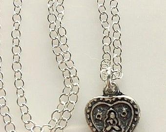 Sterling Silver Artisan Buddha Heart Charm Necklace - Silver Yoga Jewelry - Spiritual Jewelry