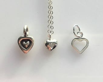 Tiny Heart Necklaces - Girls or Minimalist Heart Necklace - Sterling Silver Hearts - Tiny CZ Heart - Open Heart - Karen Hill Tribe Heart