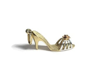 14k Yellow Gold Rose Topped High Heel Sandal Charm