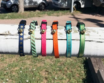 Fashion Cat Collars, Special Gold Editions, Optional Bow, Breakaway Collar, Kitten Collars, Adjustable Collar, Unique Cat Collars
