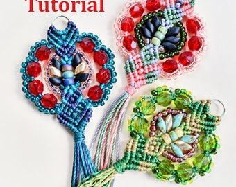 PDF macrame tutorial, DIY, step-by-step, pattern, micro-macrame pendant, beaded, jewelry, tassel, beadwork, necklace, beginner level, knots