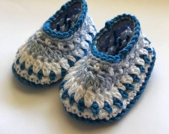 Baby booties, crochet booties, baby boy shoes, newborn booties, Galilee booties, photo prop - READY TO SHIP