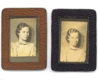 Vintage Photobooth Photos ~ small leather picture frames