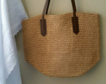 RESERVED ~ Summer Tote With Leather Handles