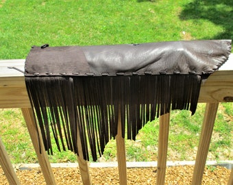 Brown Deerskin Flute Pouch, Pipe Bag or Drum Stick Bag with Full Fringe