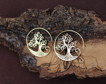 Tree Of Life  Earrings, Tribal Spiral Jewellery, Ethnic Earrings, Boho Hoop Earrings, Brass Earrings, Boucles d'oreille Laiton Arbre De Vie