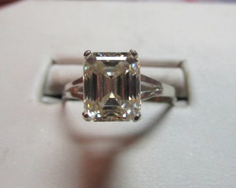 SOLD-FIRST PAYMENT-Ladies 2.29ct emerald cut moissanite sterling solitaire ring