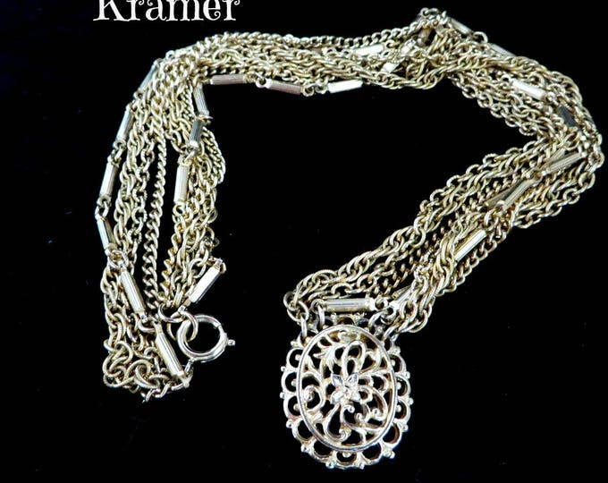 Kramer Pendant Necklace, Vintage Gold Tone Multistrand Necklace, Chain Link, FREE SHIPPING
