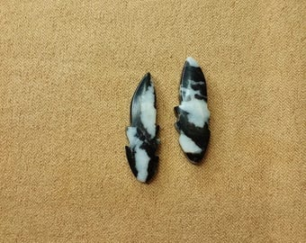 Black & White Zebra Marble Feather Cabochon Pair/backed