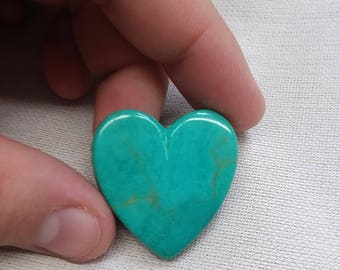 Medium Blue Green Pilot Mountain Turquoise Heart Cabochon/ backed