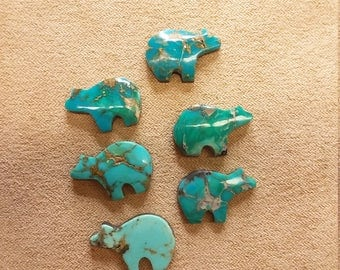 55% OFF Small Assorted Turquoise Bear Cabochons (6)/ backed/ seconds
