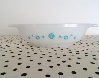 Vintage Glasbake Atomic Snowflake Casserole Dish, Atomic Starburst Glasbake, Turquoise Starburst Dish, 1950s Glasbake Dish, Midcentury Mod