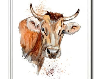 Limited Edition Art Print Bovine Beauty, Cow print, Steer, Original Art, watercolour painting