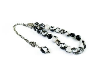 Obsidian Worry Beads, Greek Komboloi, Silver Tone Metal Chain Komboloi, Greek Worry Beads, Kompoloi