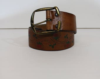 Vintage 1970's LATITAN Brown Leather Tooled Hand Painted Floral Buckle Snap Belt 32