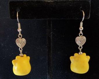 Gum Drop Cat Earrings- Yellow