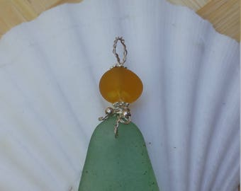 Seafoam green and gold Maui seaglass and sterling silver pendant