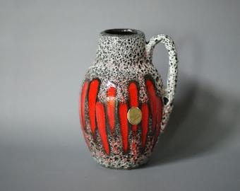 WEST GERMAN POTTERY Vase, Scheurich 414 16 Vase, Red Lora Vase, Scheurich Lora Vase, Red Scheurich Vase, Red German Vase, Red Fat Lava Vase