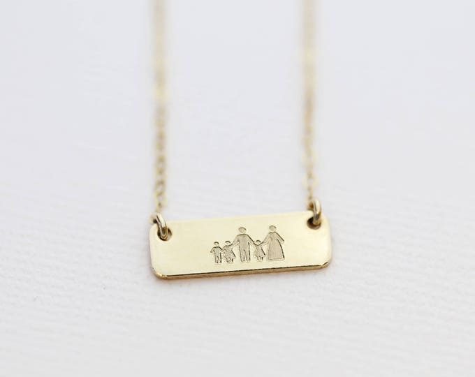 Personalized Family Necklace // Custom Happy Family Bar Necklace// Gift for Newly wed, couple, Best Friends, Moms with kids