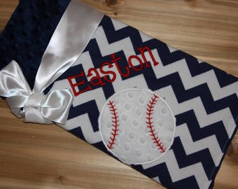 Baseball - Personalized Minky Baby Blanket with Embroidered Baseball-Navy Blue Chevron