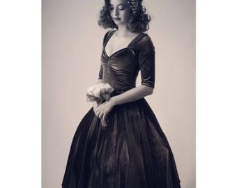 "Mid Calf Length 43"" Charcoal Grey Smoke Velvet CHERRYBOMB 3/4 Sleeve Swing Dress by Hardley Dangerous, Rockabilly Wedding, Semi Formal"