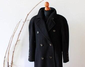 Vintage black lady's coat, 80s, pure wool, size S / M