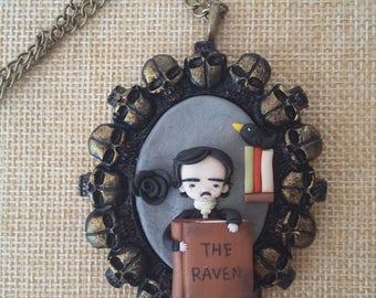 Edgar Allan Poe necklace polymer clay