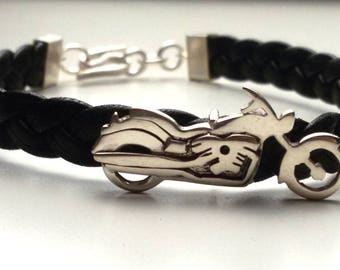 Silver and leather motorcycle bracelet. Silver motorcycle. Moto custom. Personalized Moto. Motorcycle Jewelry
