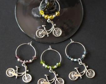 Bicycle Wine Glass Charms-Set of 4-BIKE003-4