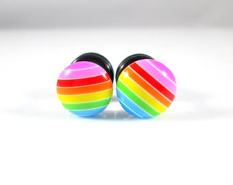 Rainbow Stripes Candy Dots plugs - Available in 4g, 2g, and 0g