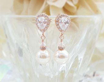 Rose Gold Teardrop Earrings - Pink Gold Earrings - Round Pearl Earrings - Blush Bridal Earrings - Swarovski Pearl Dangle Earrings E4411