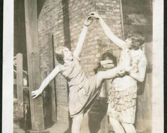 Vintage Photo of Flapper Girl Doing Kicks Showing Garter, 1930's Original Found Photo, Vernacular Photography