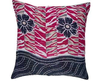 Kantha Cushion Cover - Red and Black pattern