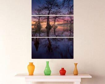 Magic Sunset Trees Triptych Metal Wall Art