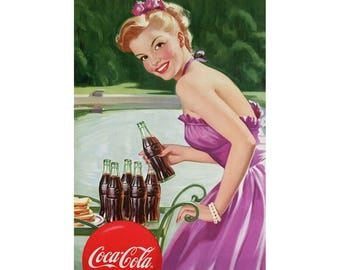 Coca-Cola Refreshment Girl with Cart Wall Decal # 158531