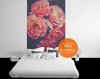 Flower tapestry, pink wall art, dorm wall hanging, nature decor, peonies, floral photograph