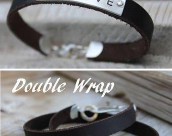 Custom Mens Bracelet, Custom Mens Leather Bracelet Personalized, Engraved Mens leather bracelets, Engraved Custom Leather Bracelet