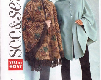 Easy Misses' Size 16-22 Poncho Pattern - Hooded Poncho With Kangaroo Pocket Pattern - Cape Sewing Pattern - See & Sew B4266