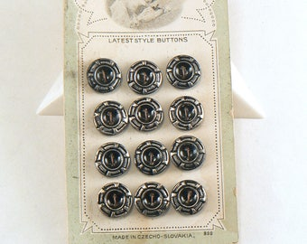 """12 - 7/16"""" Black & Silver Tinted Brass Buttons On Original Card - Tinted Metal Buttons - Vintage Brass Buttons - Vintage Button Card"""