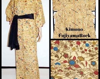 Floral Kimono, Japanese Kimono, Kimono Dressing Gown, Authentic Kimono, Vintage Kimono, Japanese Robe, Kimono, Japanese Clothing, Japan
