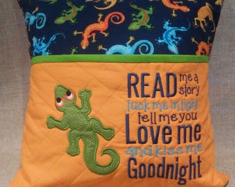 Reading Pillow - Bed Pillow  -  Gecko - Lizard - Hypoallergenic - Embroidered  Pillow Pocket  -  Travel Pillow - Storybook Pillow