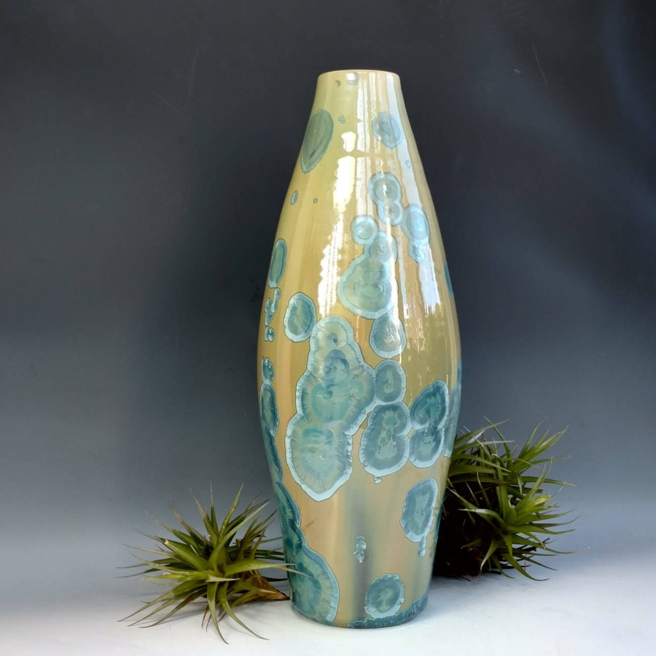 Tall turquoise ceramic vase large handmade green blue bottle tall turquoise ceramic vase large handmade green blue bottle crystalline glaze pottery gift bedroom home office decor 135 tall reviewsmspy