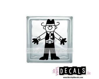 Cowboy/Sheriff - Country Western Vinyl Lettering for Glass Blocks - Craft Decals