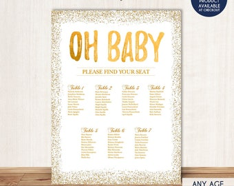 BABY SHOWER Seating Chart Board, Oh Baby Gold Seating Chart, Gold Guest  List Chart  Guest Seating Chart Template
