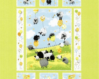 Sheep Fabric, Lewe's Balloons, Baby Quilt Panel - Lewe the Ewe Panel by Susy Bee SB20042-710 - Priced by the 35-inch panel