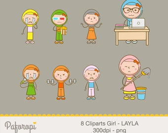 8 Doodle Girl Character Cliparts - Not in a Good Mood/Bad Day - LAYLA- Hijab Girl - for Planner Stickers - Digital Files