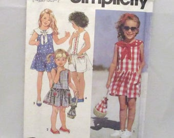 Simplicity 7848 Easy to Sew Girls Romper and Dress and Purse UNCUT