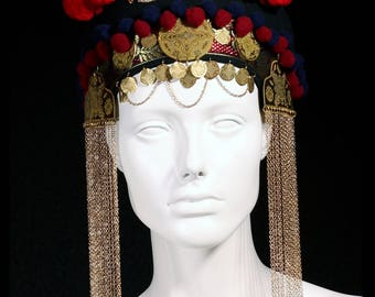 """INAN- Crown headdress in Gold, Red,Black& Blue with Brass Coins and chain tassel by Sweet'n""""Twisted"""