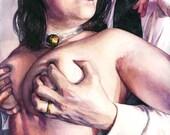 "Signed ""Kitten Bell"" Giclée Art Print by Vanessa Walsh, Erotic Art Print, Colourful Art Print."